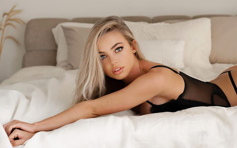 pretty russian woman on bed